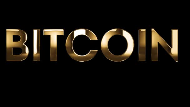 BITCOIN is the new money - text animation with gold letters over black background