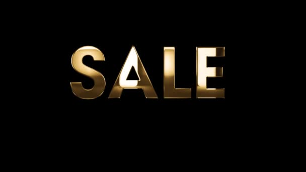 SALE get 20% off - text animation with gold letters over black background