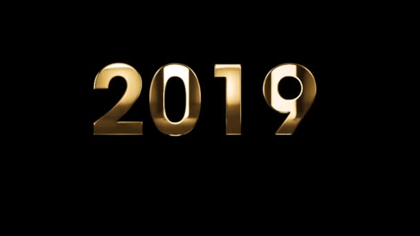 2019 Happy New Year - text animation with gold letters over black background