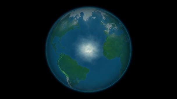 Planeten Erde Animation zur globalen Erwärmung. animierte Karte des Rückgangs des polaren Meereises deutet auf globale Erwärmung hin