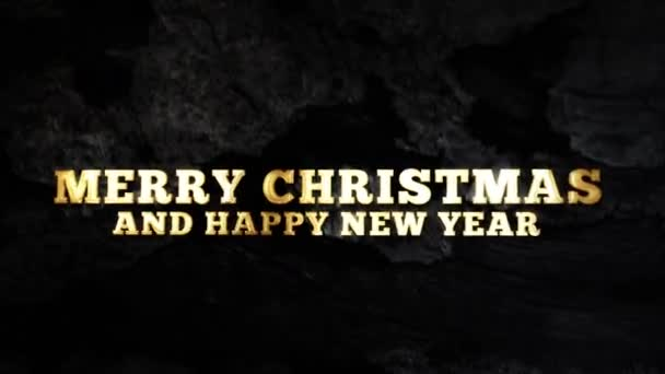 MERRY CHRISTMAS AND HAPPY NEW YEAR - text animation with gold letters over dark background