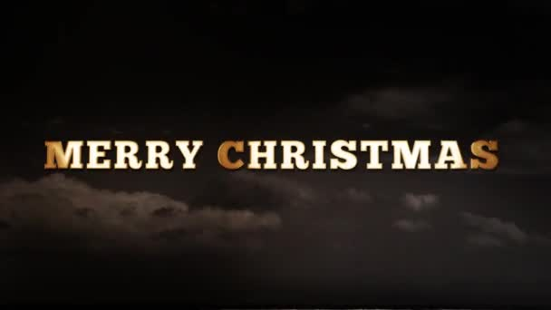 MERRY CHRISTMAS - text animation with gold letters over dark background