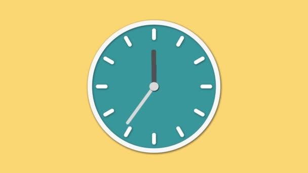 Animovaný hodinový ciferník odpočítává. Digitální animace hodiny tikají na žlutém podkladu