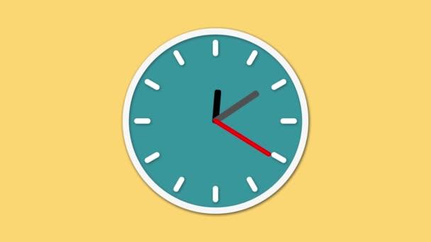 Animovaný hodinový ciferník odpočítává. Digitální animace hodiny běží v reálném čase na žlutém podkladu