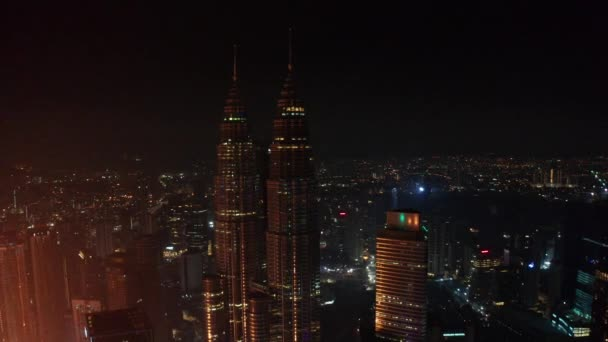 View from high rise building of Kuala Lumpur city skyline at night