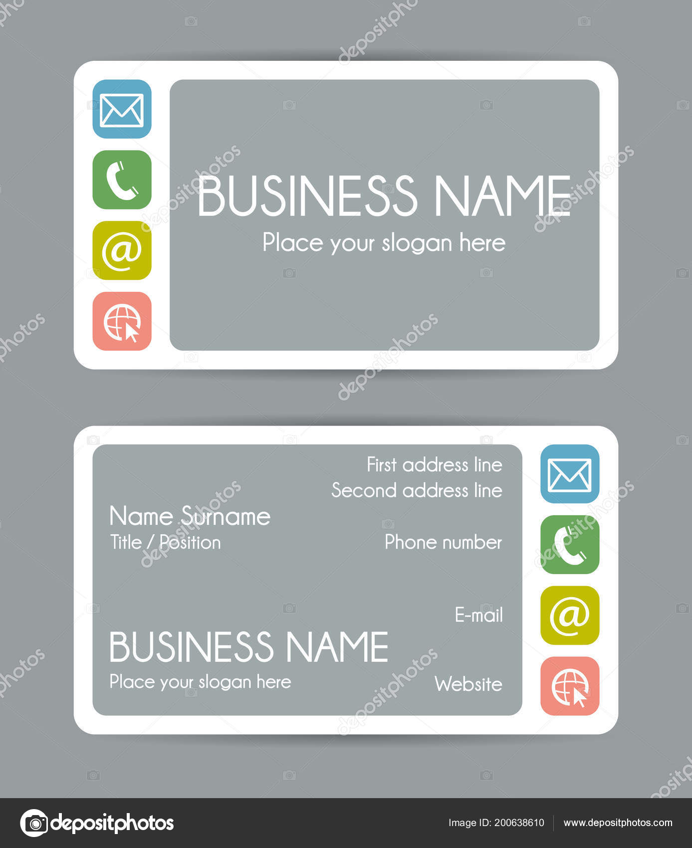 Rounded corner business card template front back vector set rounded corner business card template front back vector set vetores de stock reheart Gallery