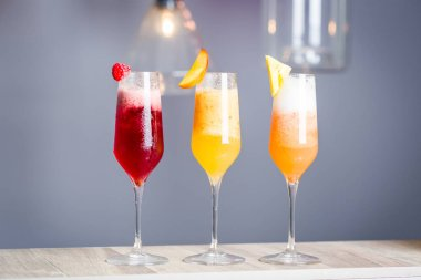 Three Kind of Summer Cocktails - Raspberry, Peach and Pineapple stock vector