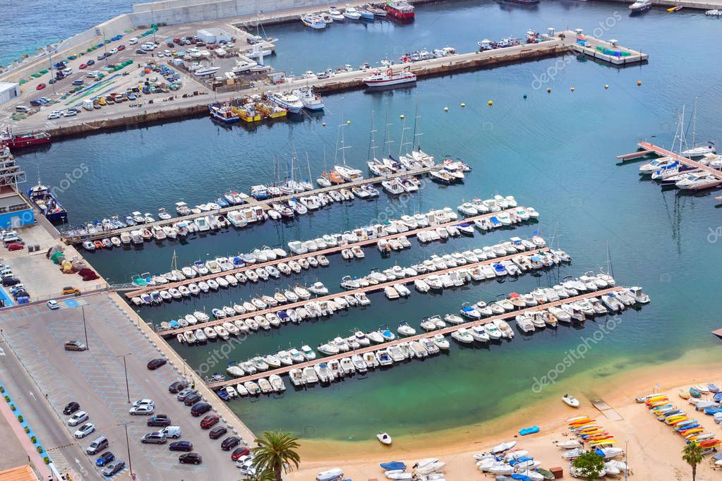 Sea port Blanes, fishing boats and yachts, Spain