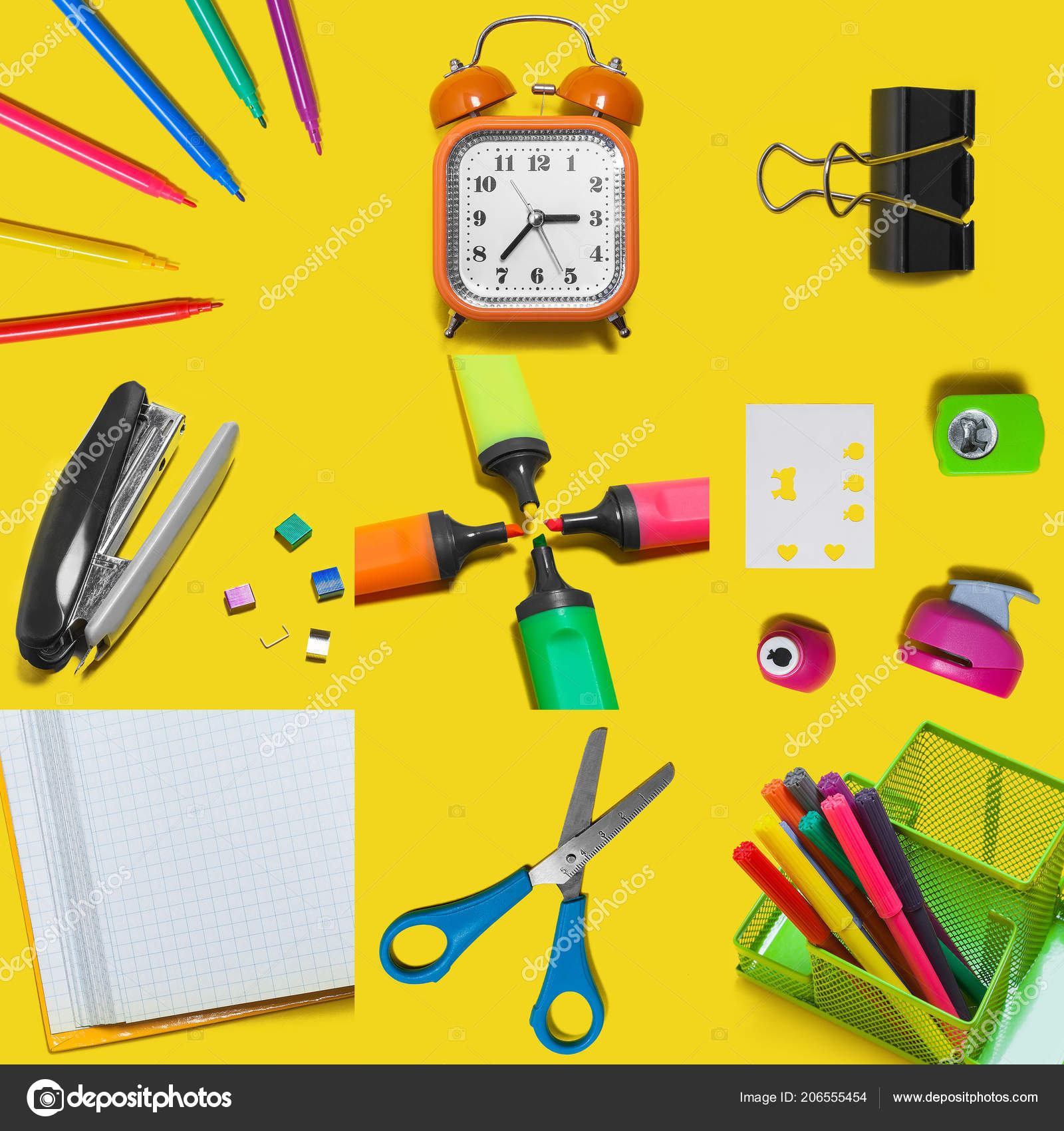 24d1721f786 Πίσω Στο Σχολείο Σχεδίου Σχολικά Είδη Και Στοιχεία Κίτρινο Φόντο —  Φωτογραφία Αρχείου