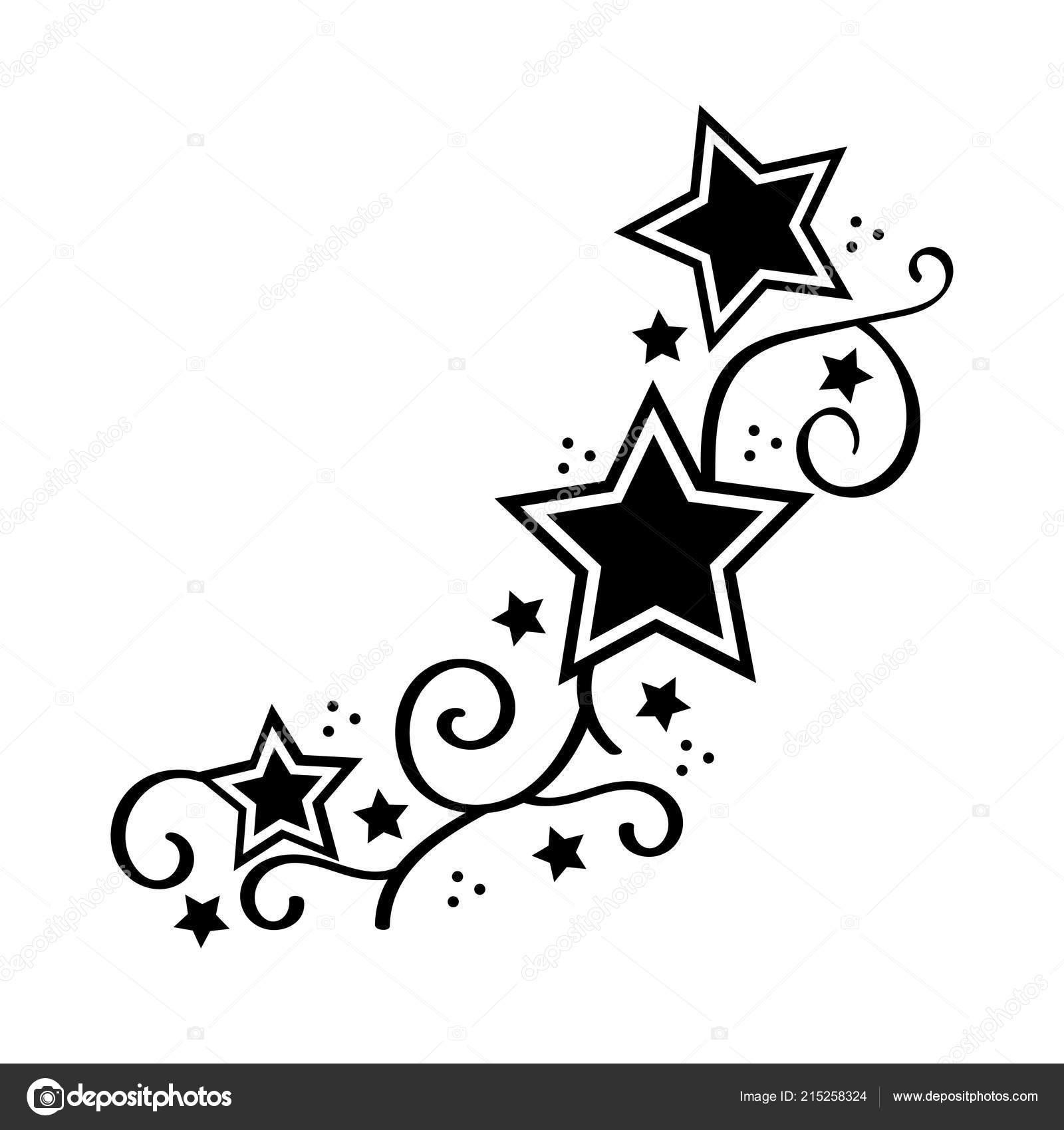 Tattoo Sterren Stencyl Design Klaar Om Af Te Drukken