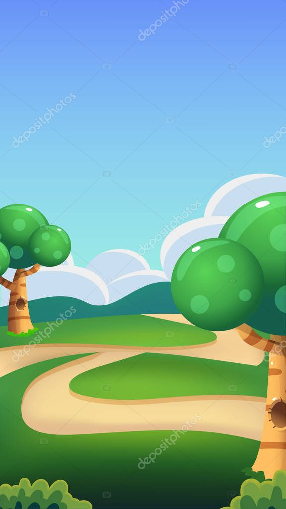Cartoon Nature Landscape, Bright Sunny Day Illustration , Vertical Size for Mobile Phone Screens and Games