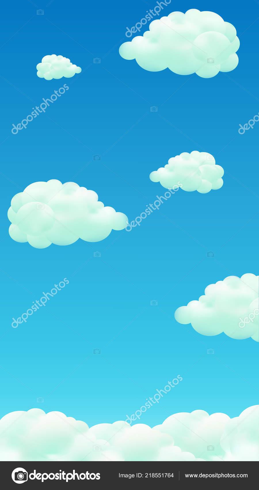 Sfondo Nuvole Cellulare Gradiente Cielo Blu E Nuvole Fumetto