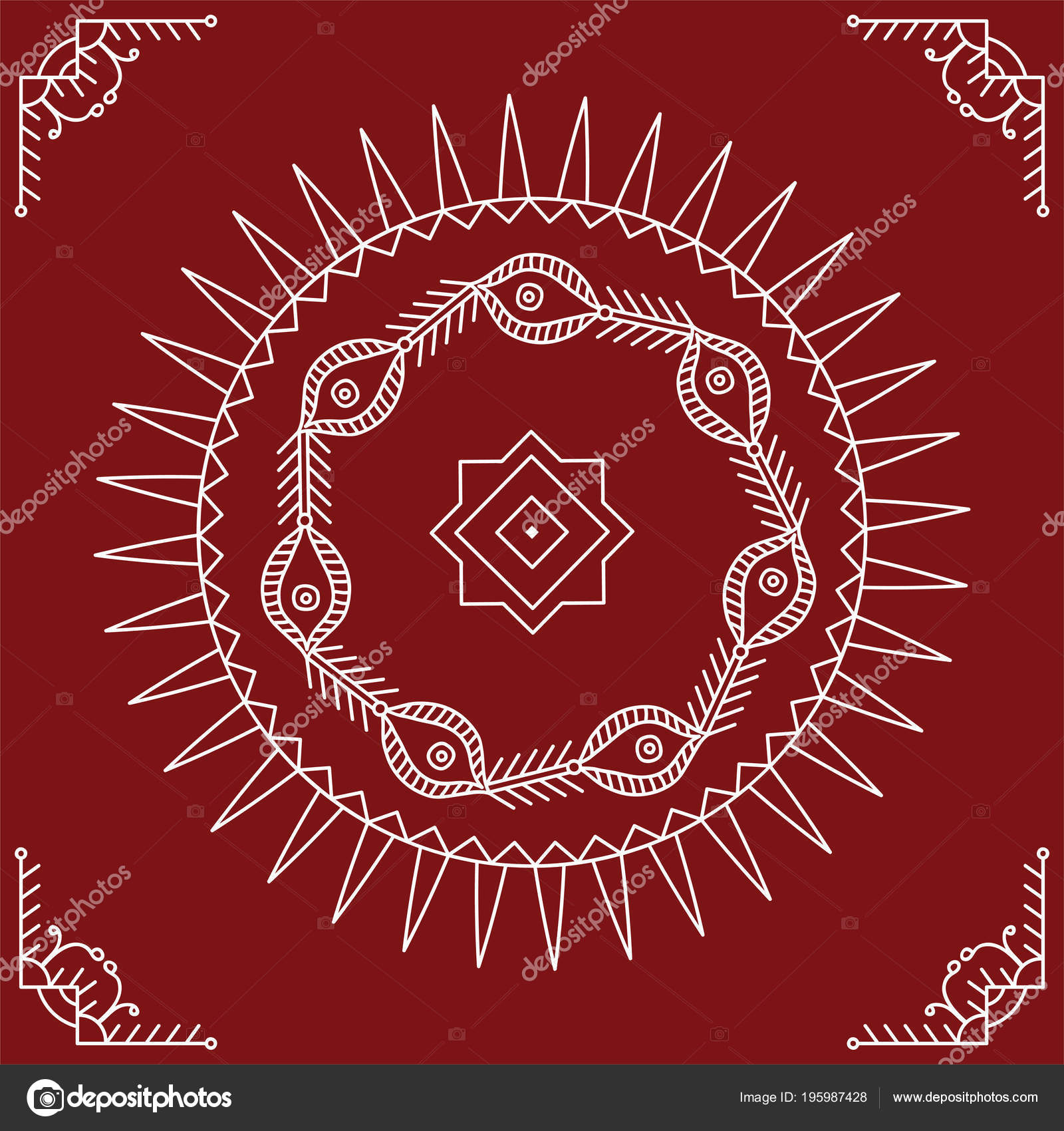 Folk Circular Tribal Design Motif Wall Painting Vector Art Stock