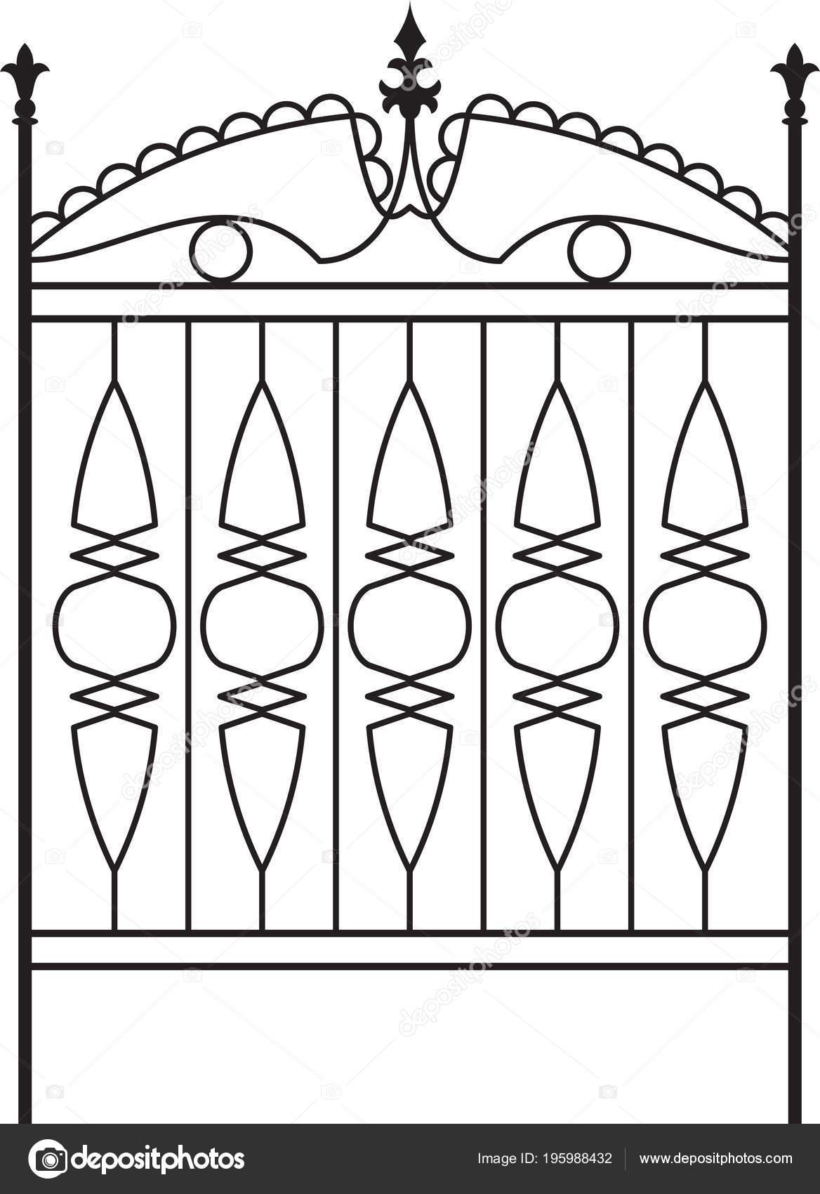 Portail fer forg cl ture porte fen tre grille garde corps design image vectorielle for Design fer forge fenetre