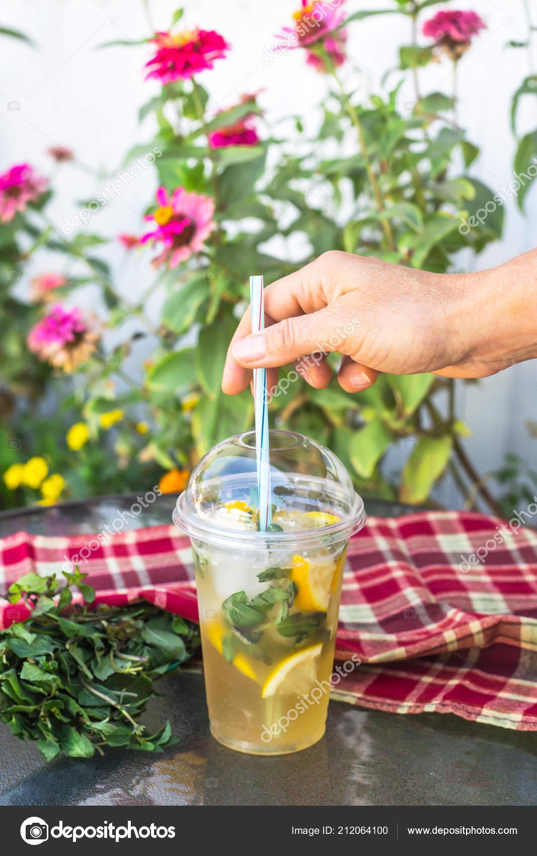 Plastic Glass Tube Mojito Mint Lemon Table Next Red