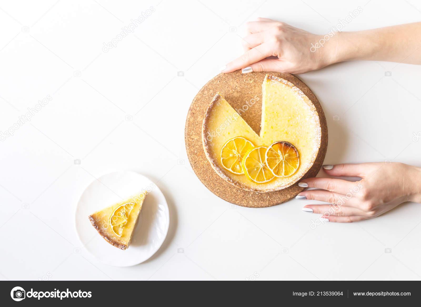 Lemon Tart Dried Lemons Decoration Cut Piece Female Hands White