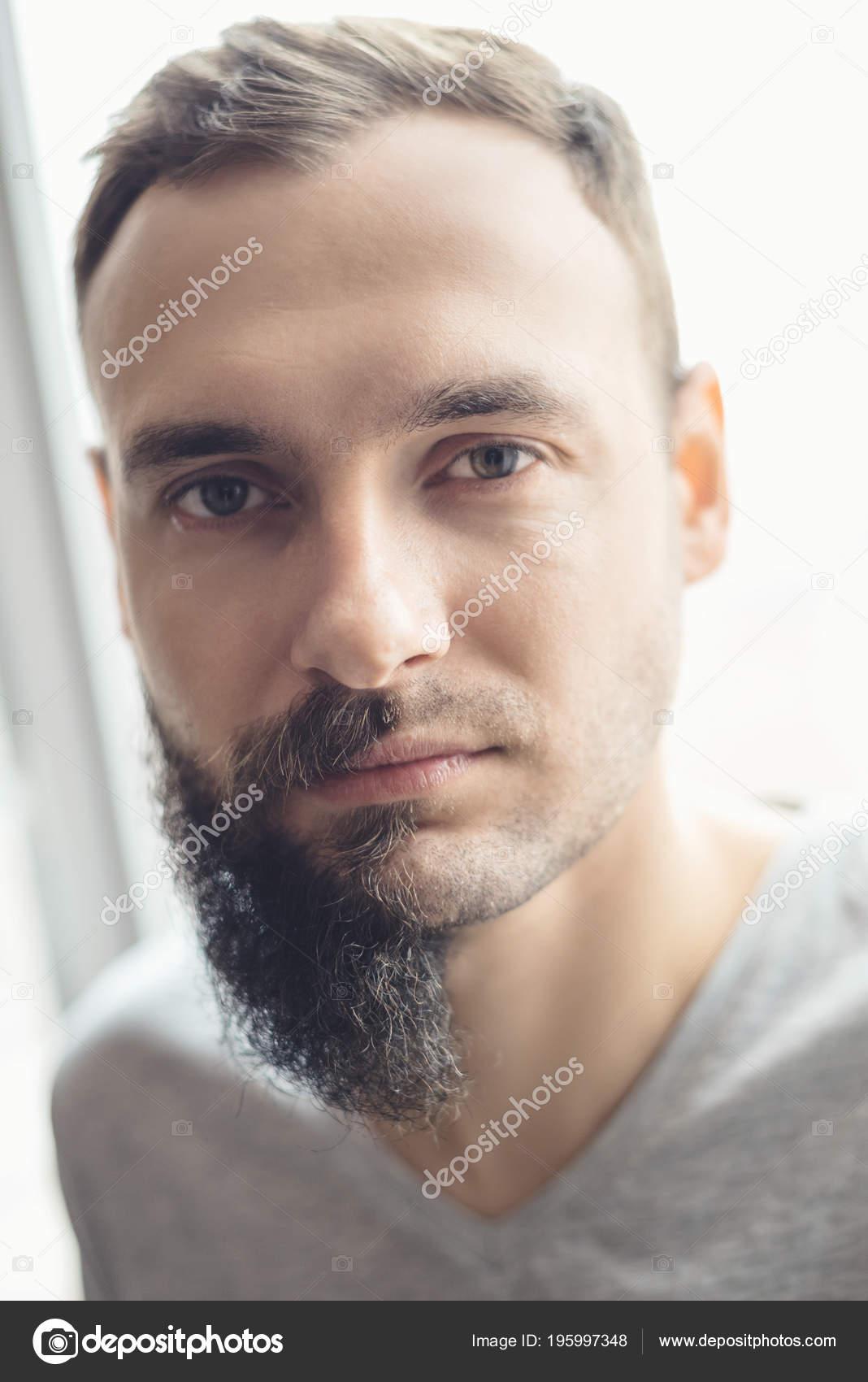 Superb Handsome Man Half Beard Standing Front White Background Half His Schematic Wiring Diagrams Amerangerunnerswayorg