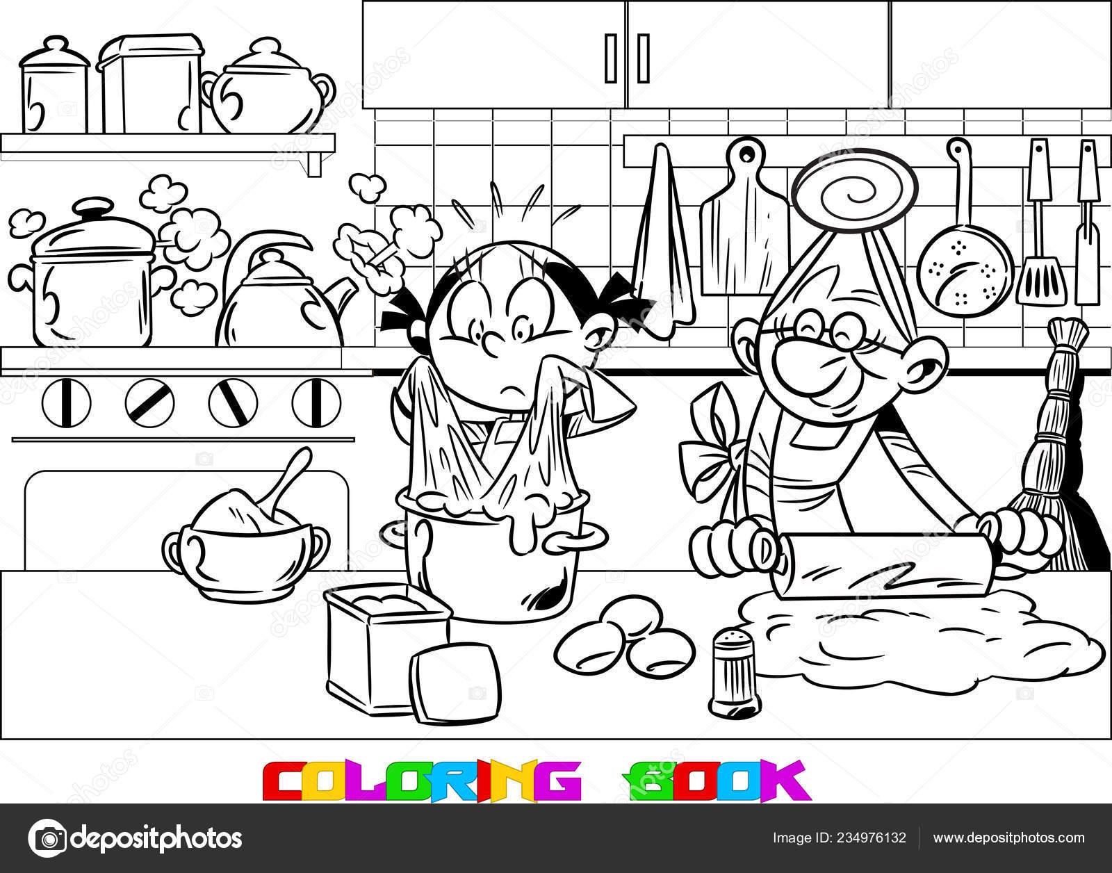Nieta Poco Ayuda Una Anciana Abuela Cocinar Cocina Ella Está