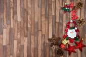 Veselé Vánoce - Vánoční dekorace dřevěné pozadí