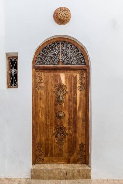 Carved wooden door in moroccan style
