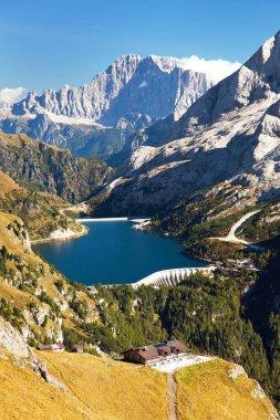View of lago di Fedaia and mount Civetta, Dolomiti, Italy