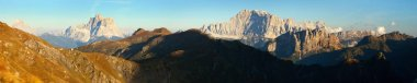 Evening panoramic view of mount Civetta and mount Pelmo, South Tirol, dolomites mountains, Italy