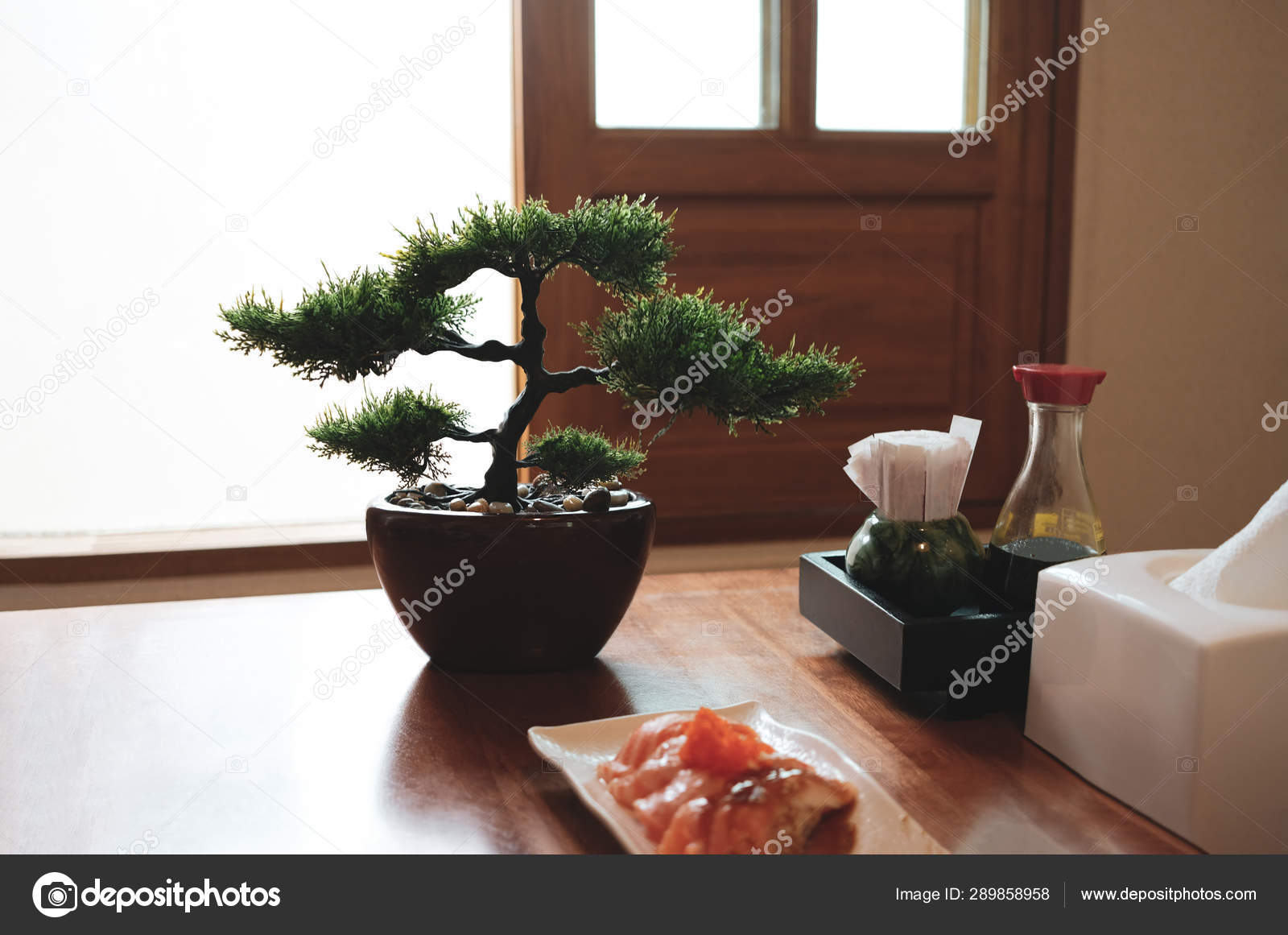 Set Flavoring Japanese Food Plastic Bonsai Window Light Background Stock Photo C Apisorn 289858958