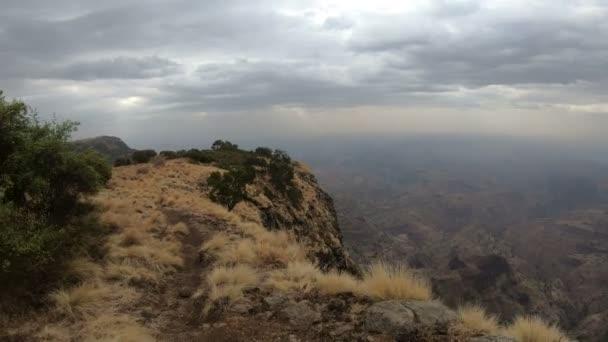 walking  in Simien Mountain, Ethiopia wilderness, Africa