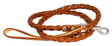 brown leather leash on a white background.