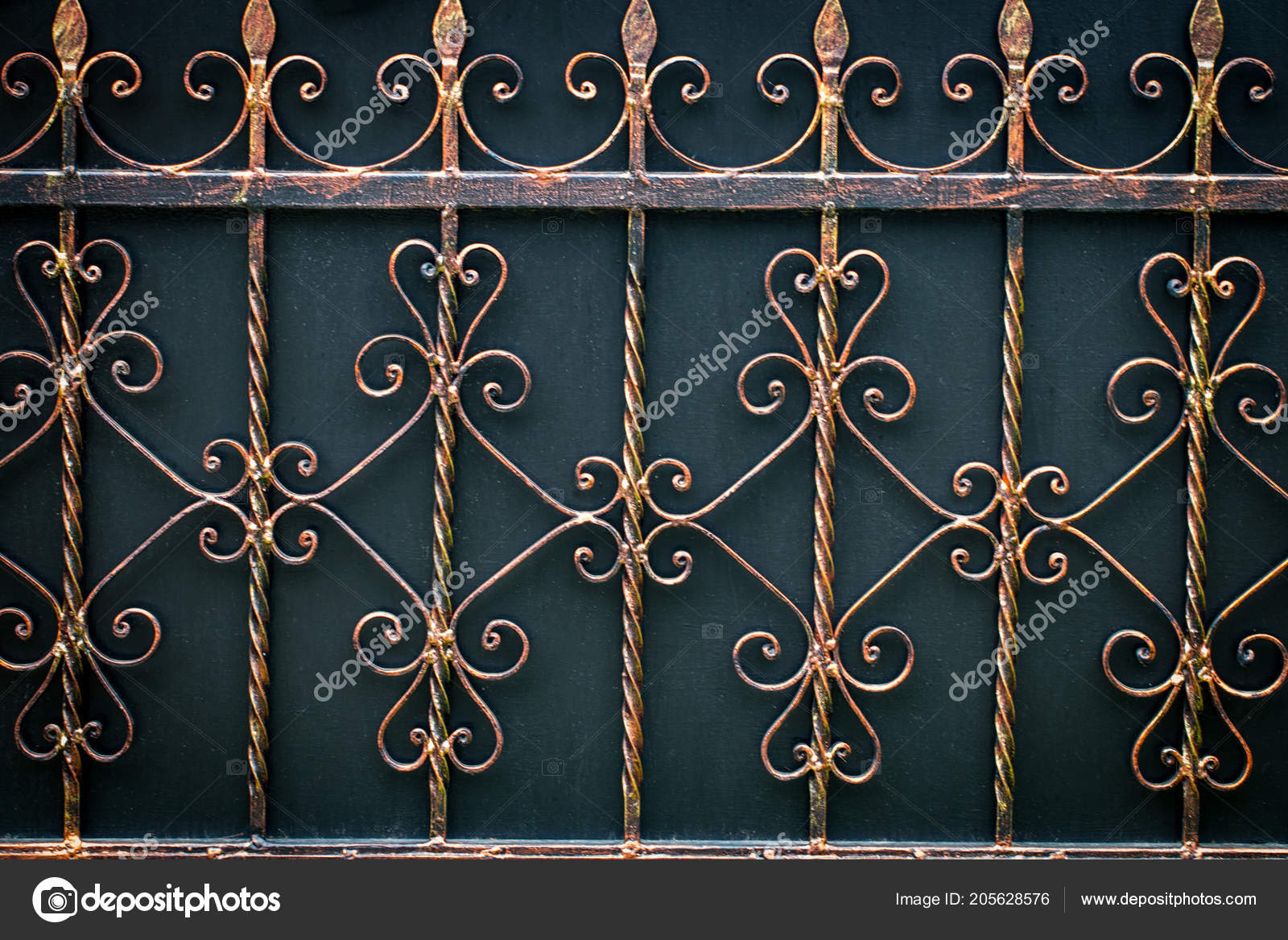 ornate wrought iron gate unusual ornate wrought iron elements metal gate decoration stock photo