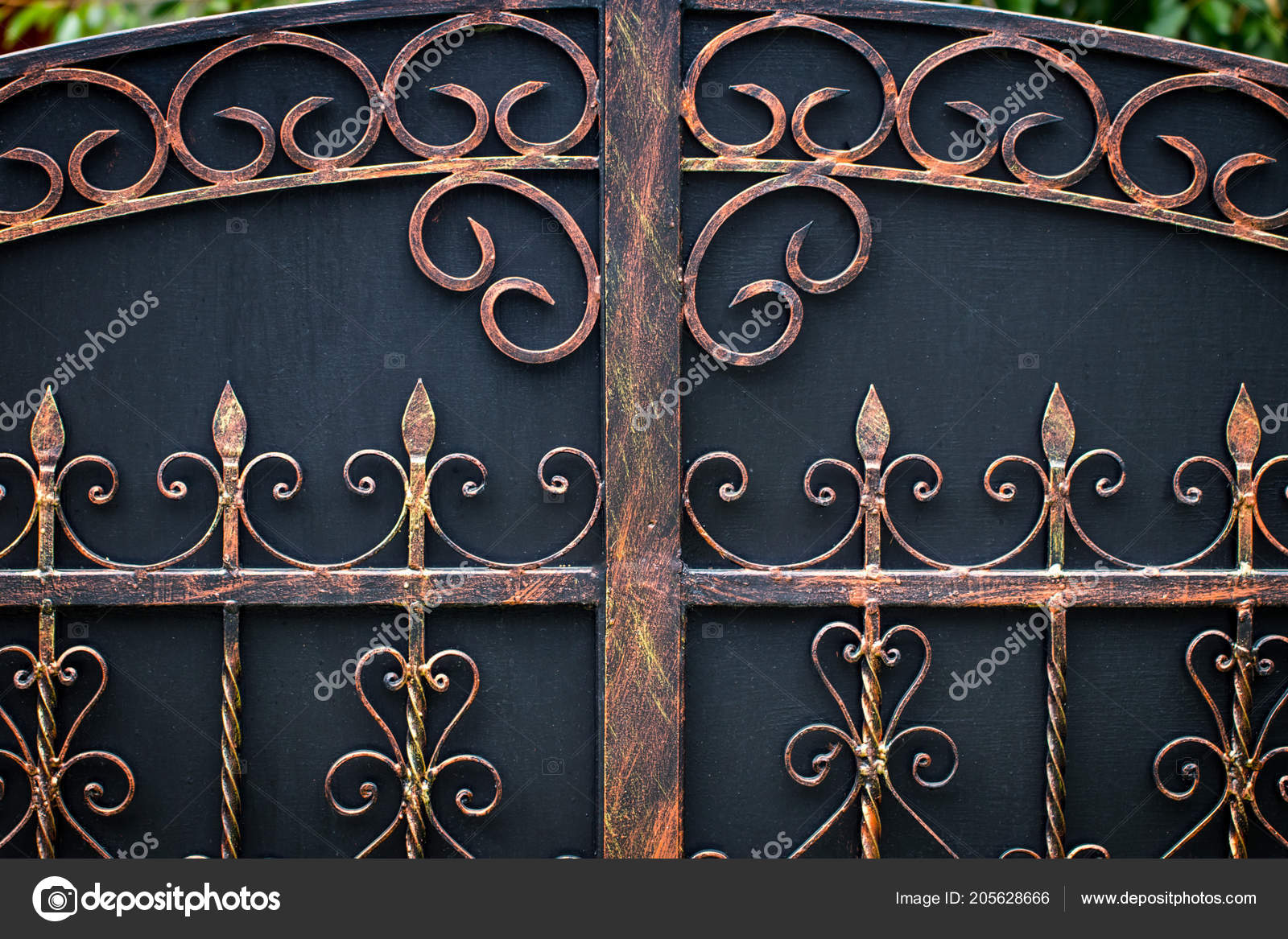 ornate wrought iron gate cast iron ornate wrought iron elements metal gate decoration stock photo
