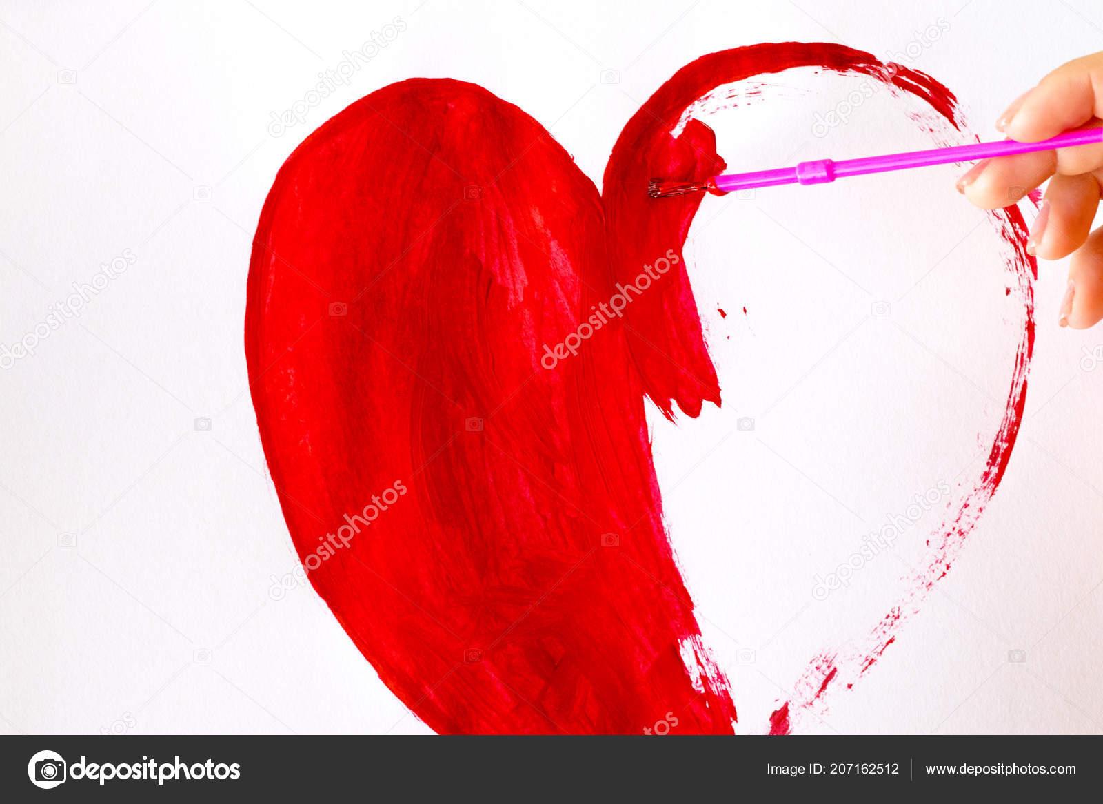 Rucne Stetcem Vykres Tvaru Srdce Izolovanych Bilem Stock
