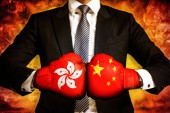 Photo Political and business Concept of trade war between Hong kong an