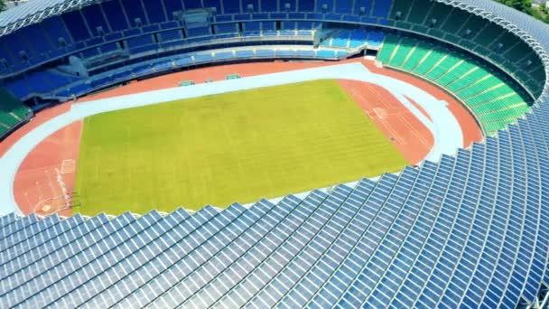 vzdušný výhled na Národní stadion Kaohsiung (světový stadion). solární panel na střeše