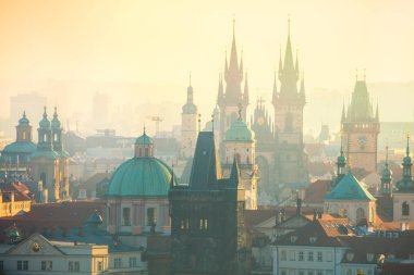 Amazing Aerial view of Prague landmarks at early morning, Czech, European travel
