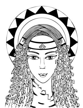Lelia is the goddess of youth and love. black and white. vector