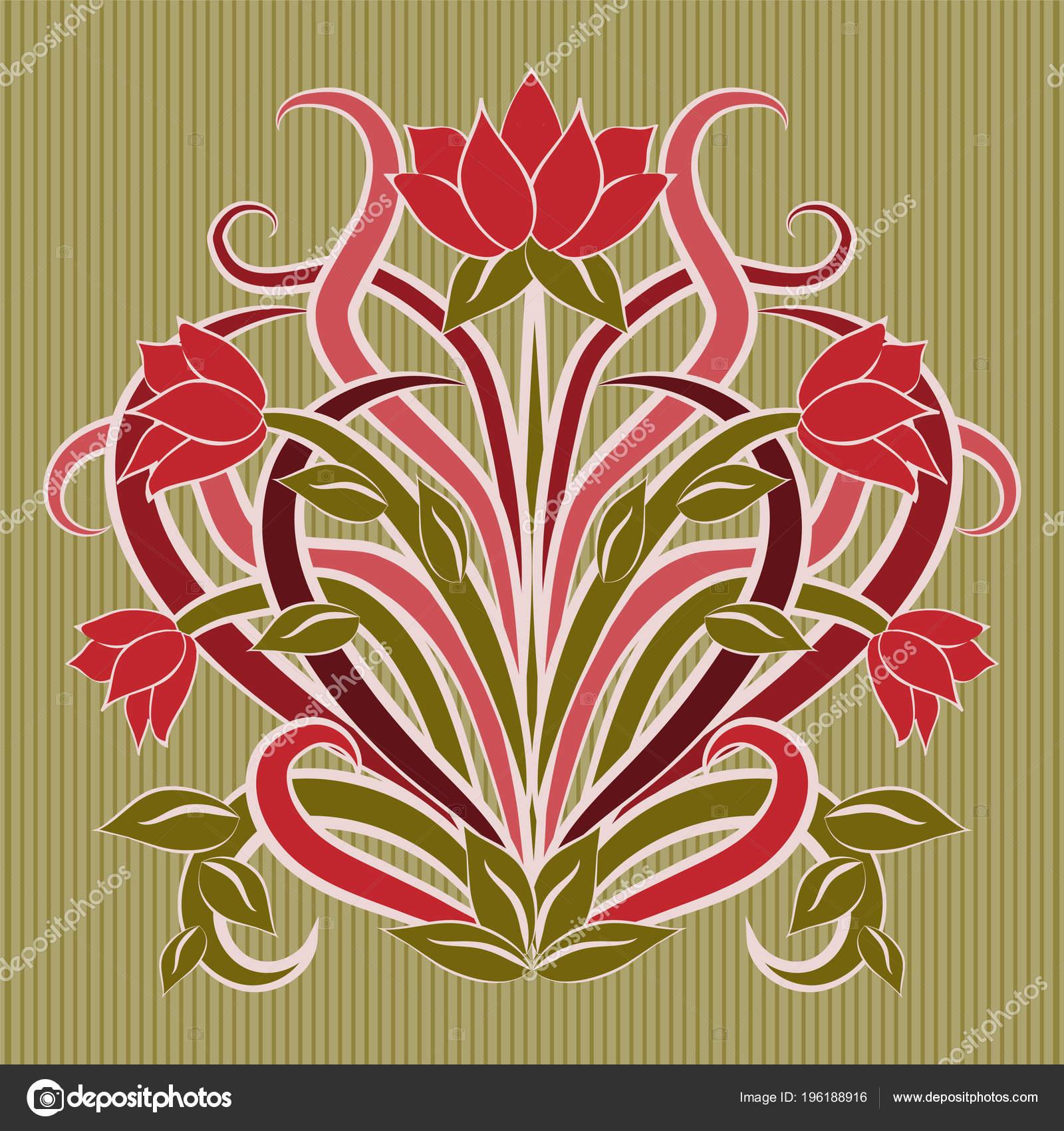 Art Deco Floral Wallpaper Floral Wallpaper Art Nouveau Style