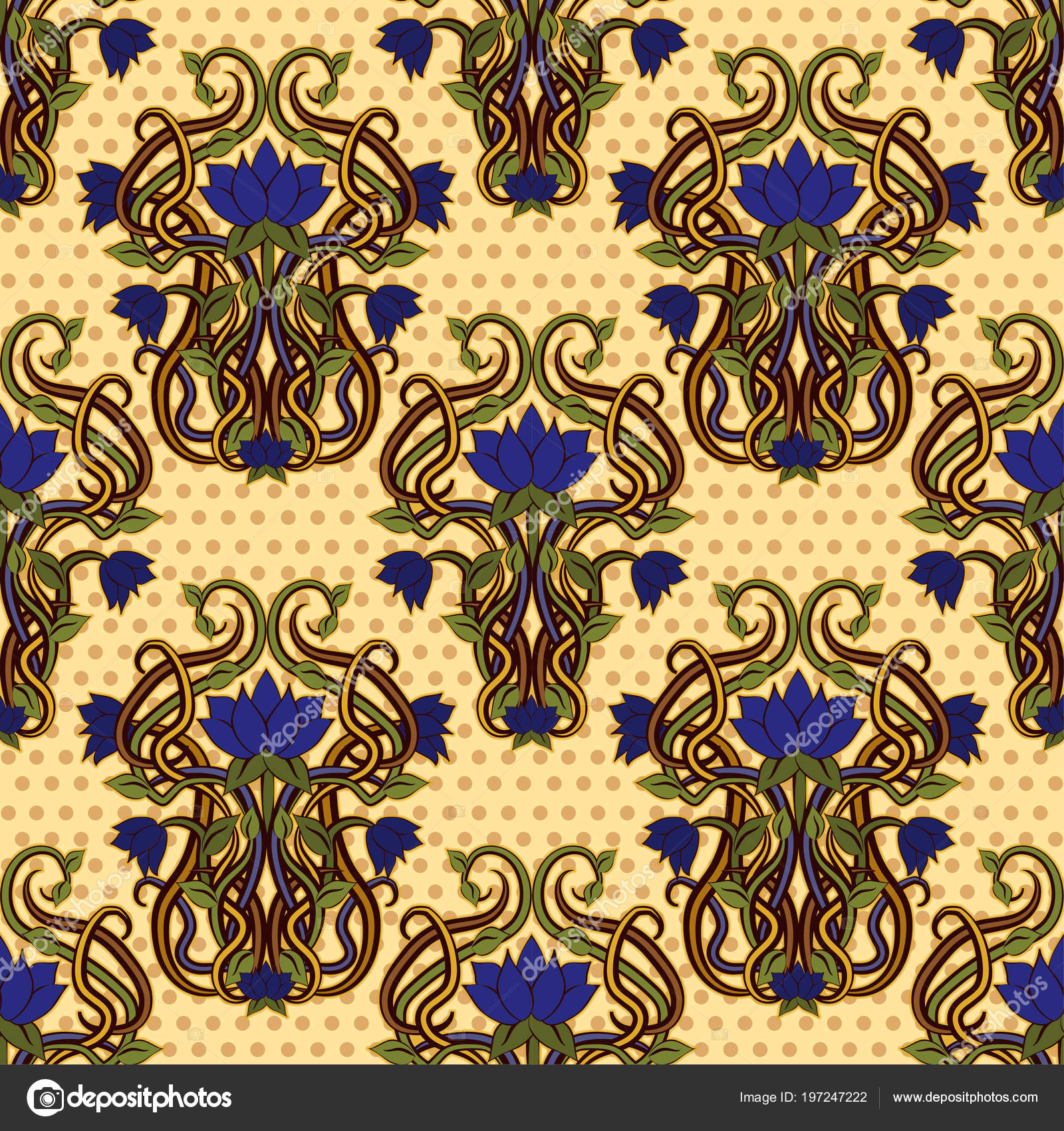 Seamless Floral Wallpaper Art Nouveau Style Vector Illustration