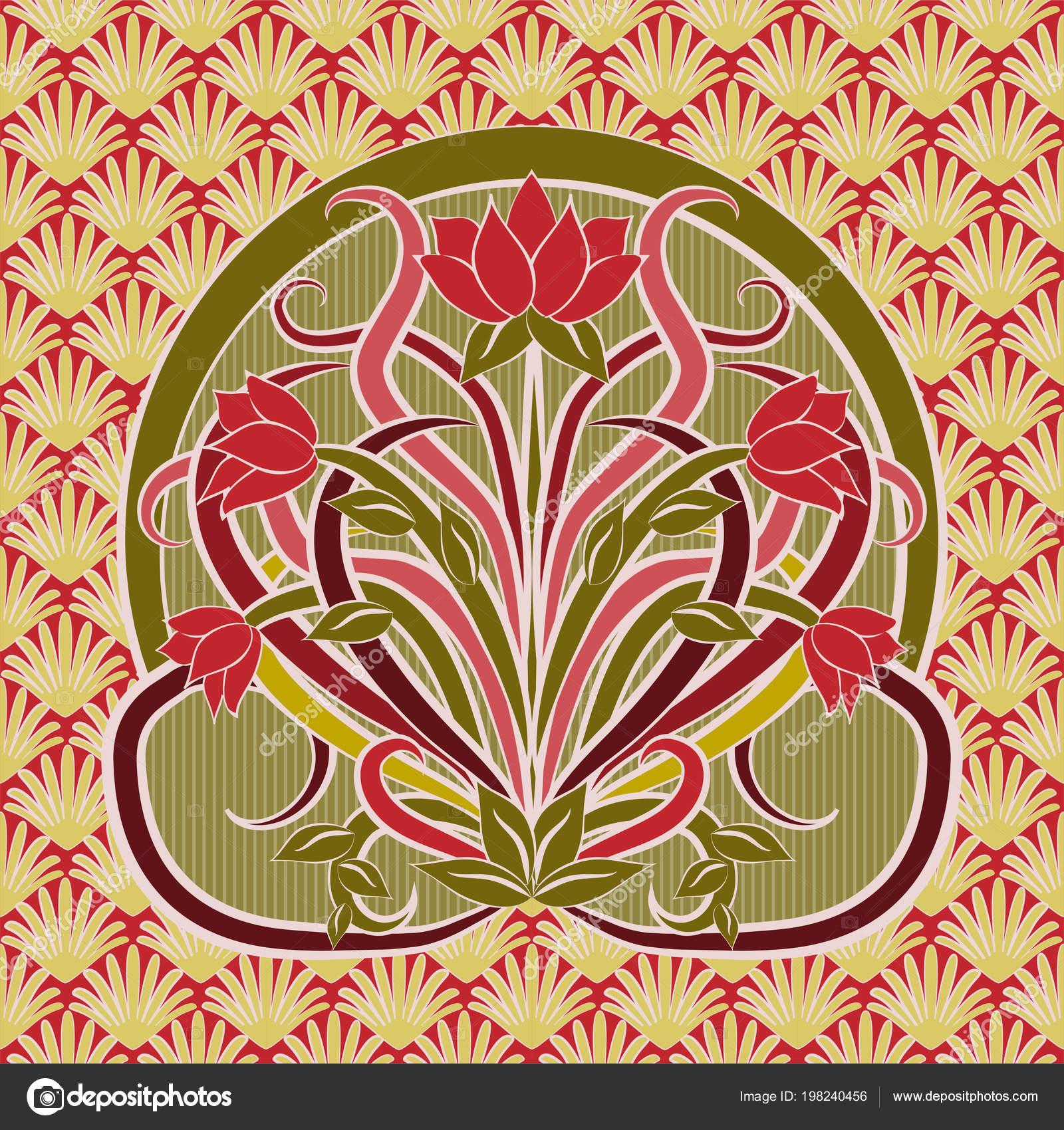 Floral Wallpaper Art Nouveau Style Vector Illustration Stock