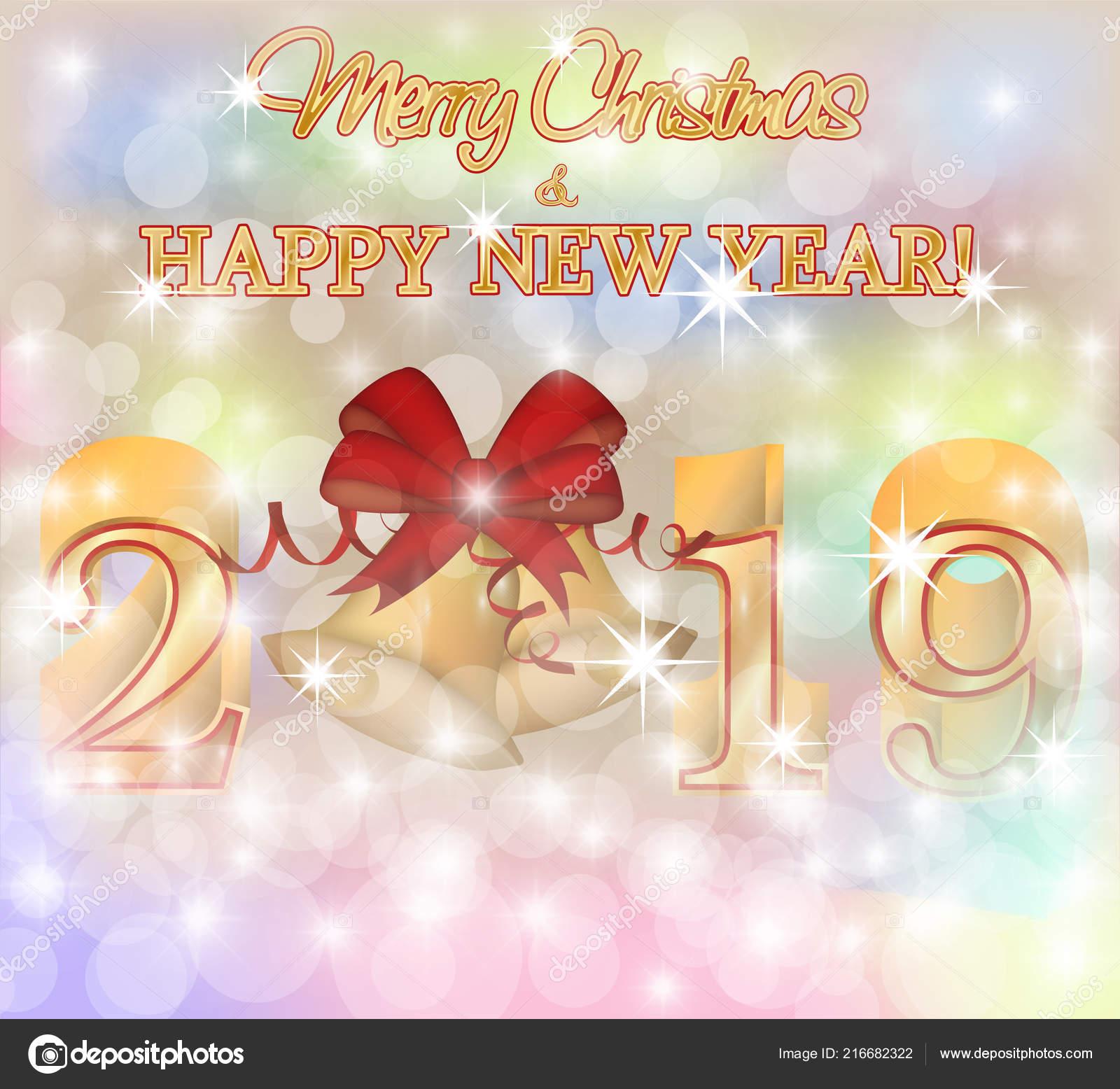 merry christmas happy 2019 new year invitation card vector illustration stock vector