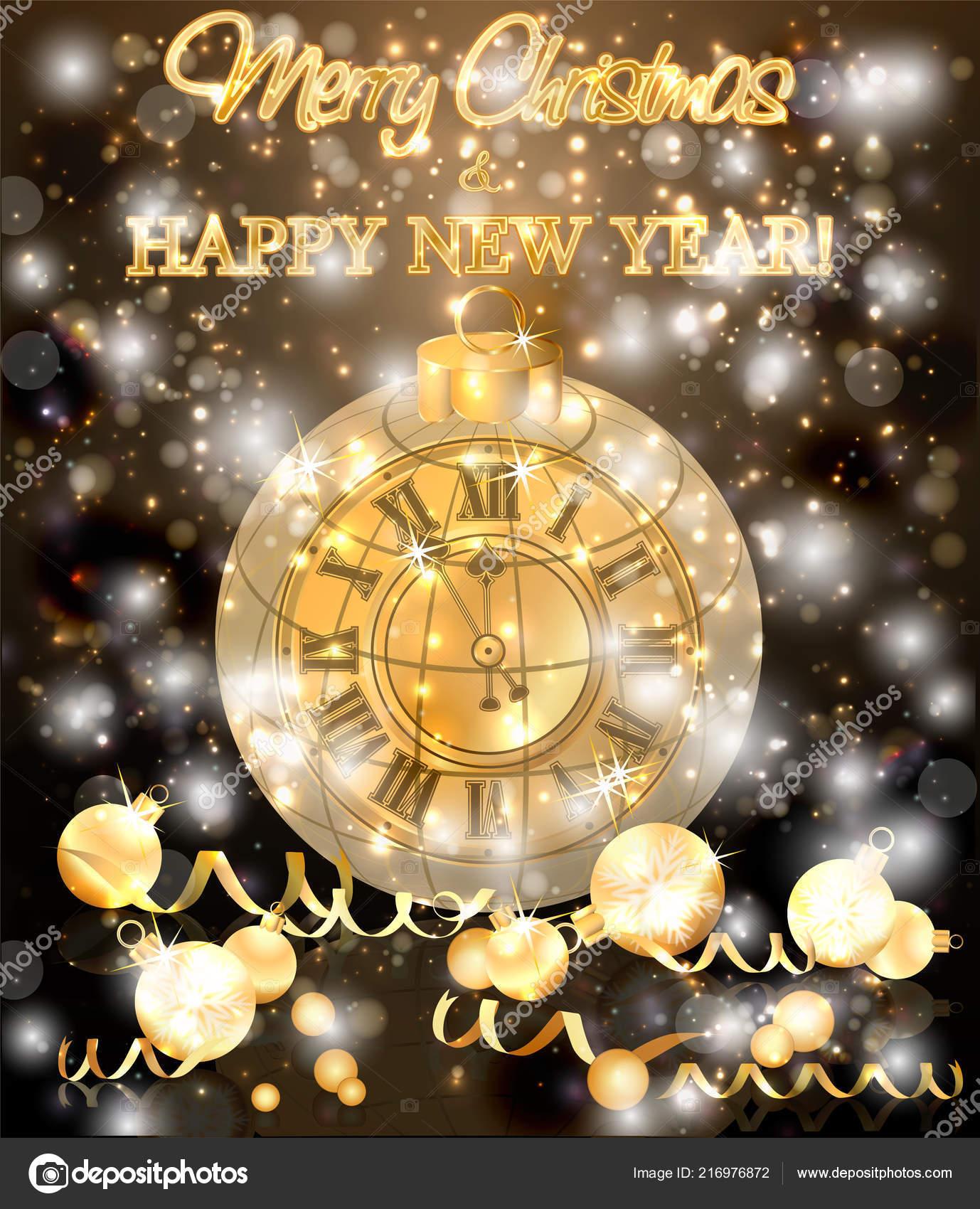 merry christmas new year banner xmas clock vector illustration stock vector