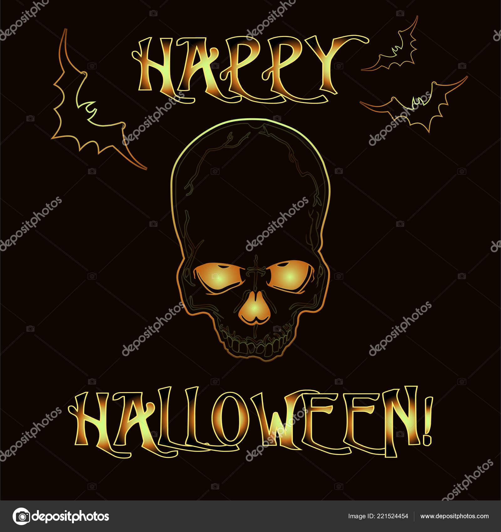 Tarjeta Invitación Halloween Feliz Con Cráneo Zombie