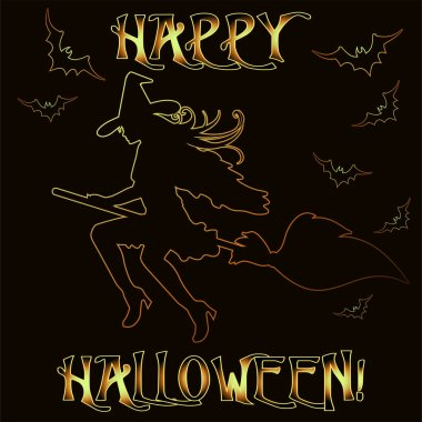 Happy Halloween invitation card with young witch  , vector illustration
