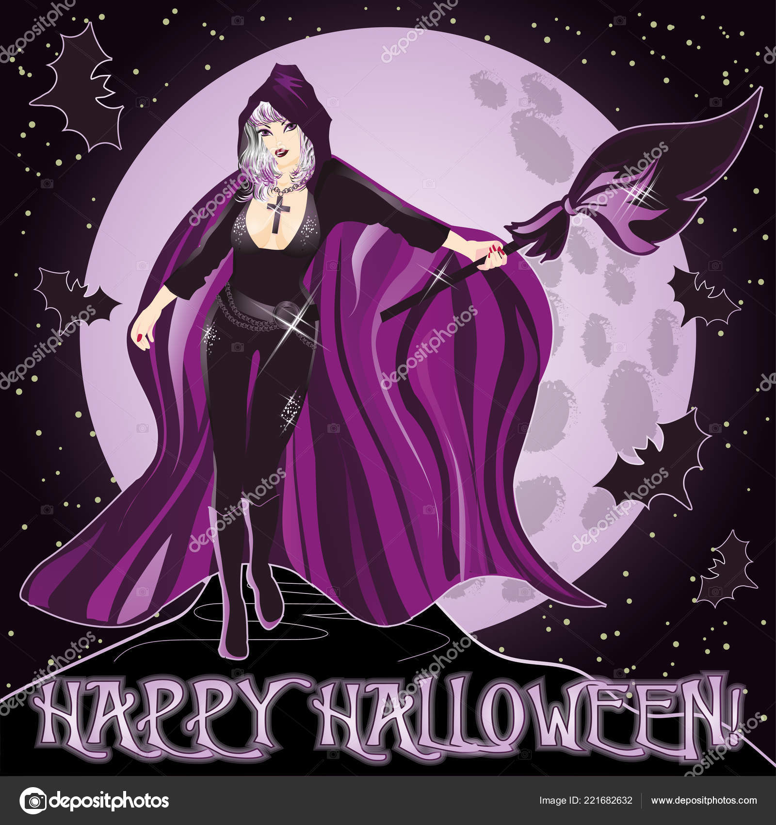 Happy Halloween Invitation Background Young Sexy Witch Vector Illustration Stock