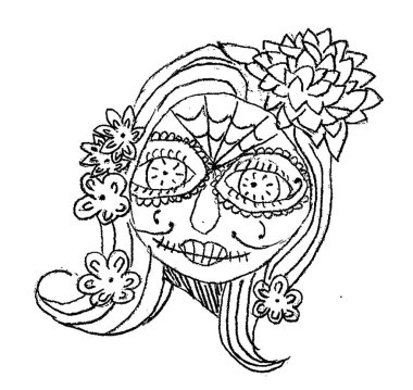Day of the dead, makeup mexican sugar skull. Children's sketch for print on T-shirts.  illustration