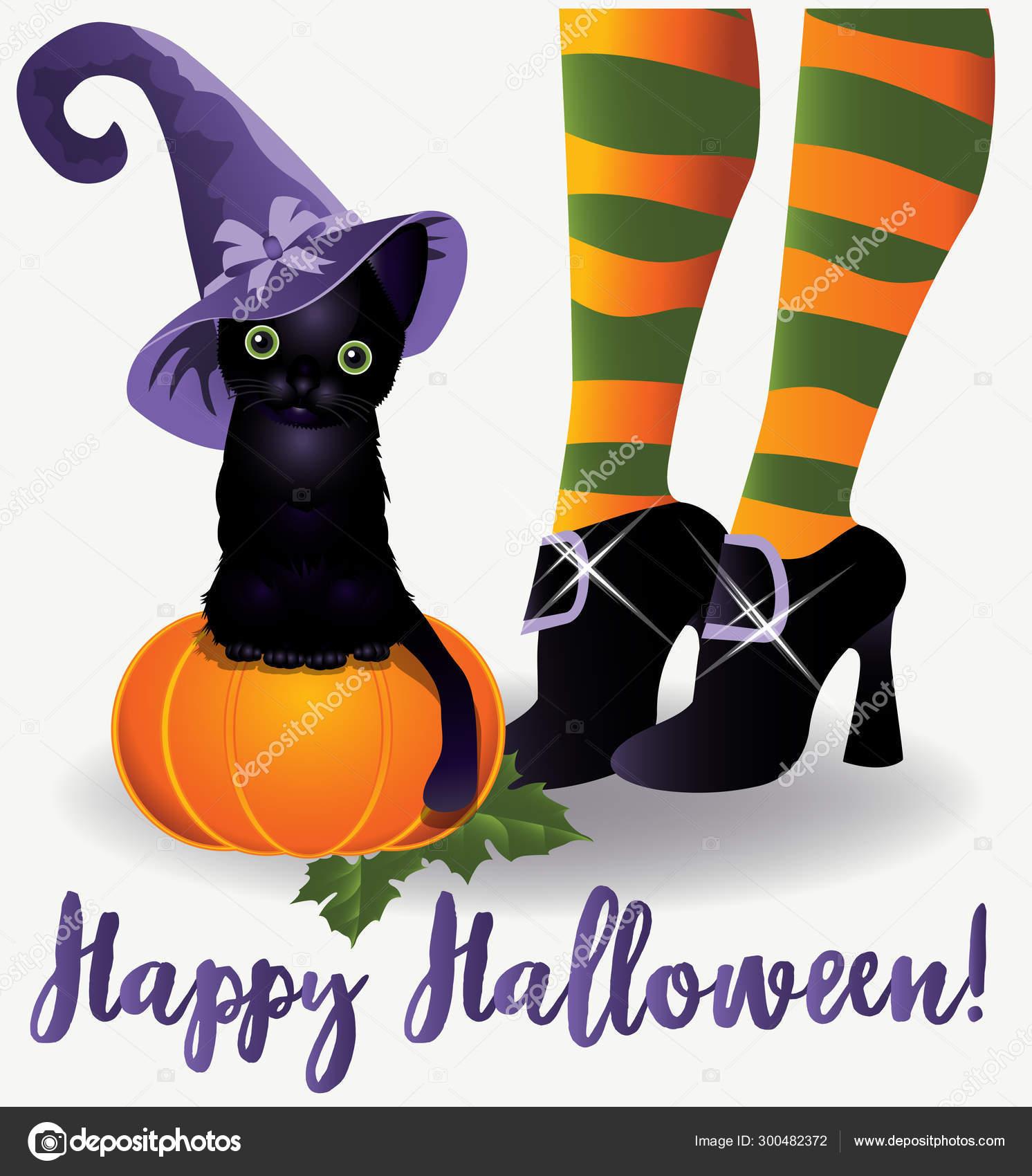 depositphotos 300482372 stock illustration happy halloween wallpaper black cat