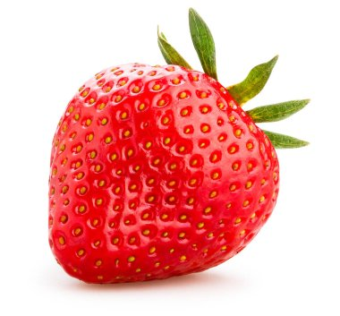 single strawberry isolated on white background, close up