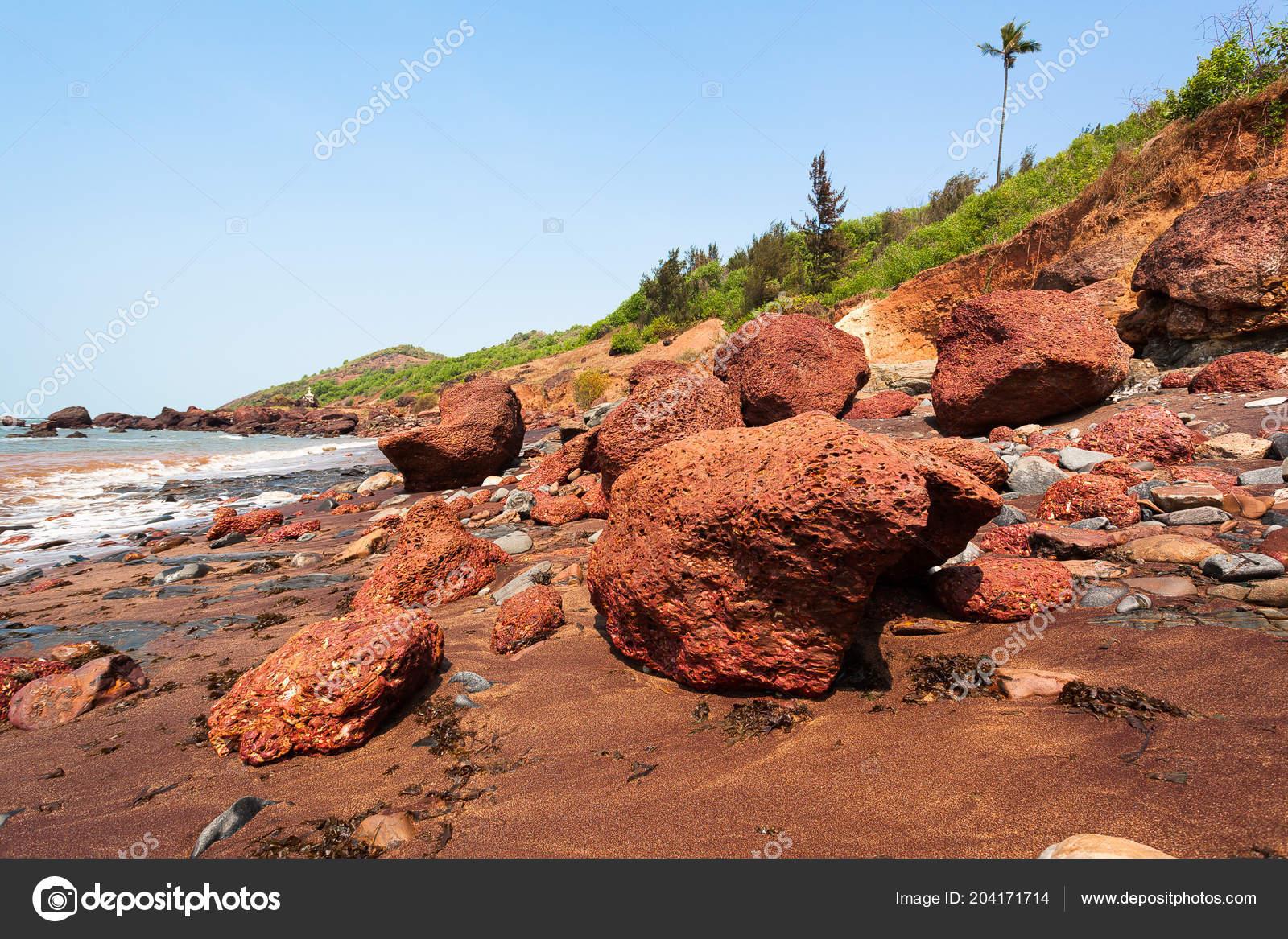 Goa Rocky Seashore Coastline Landscape Stock Photo C Bergamont