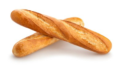 twp baguettes isolated on white background