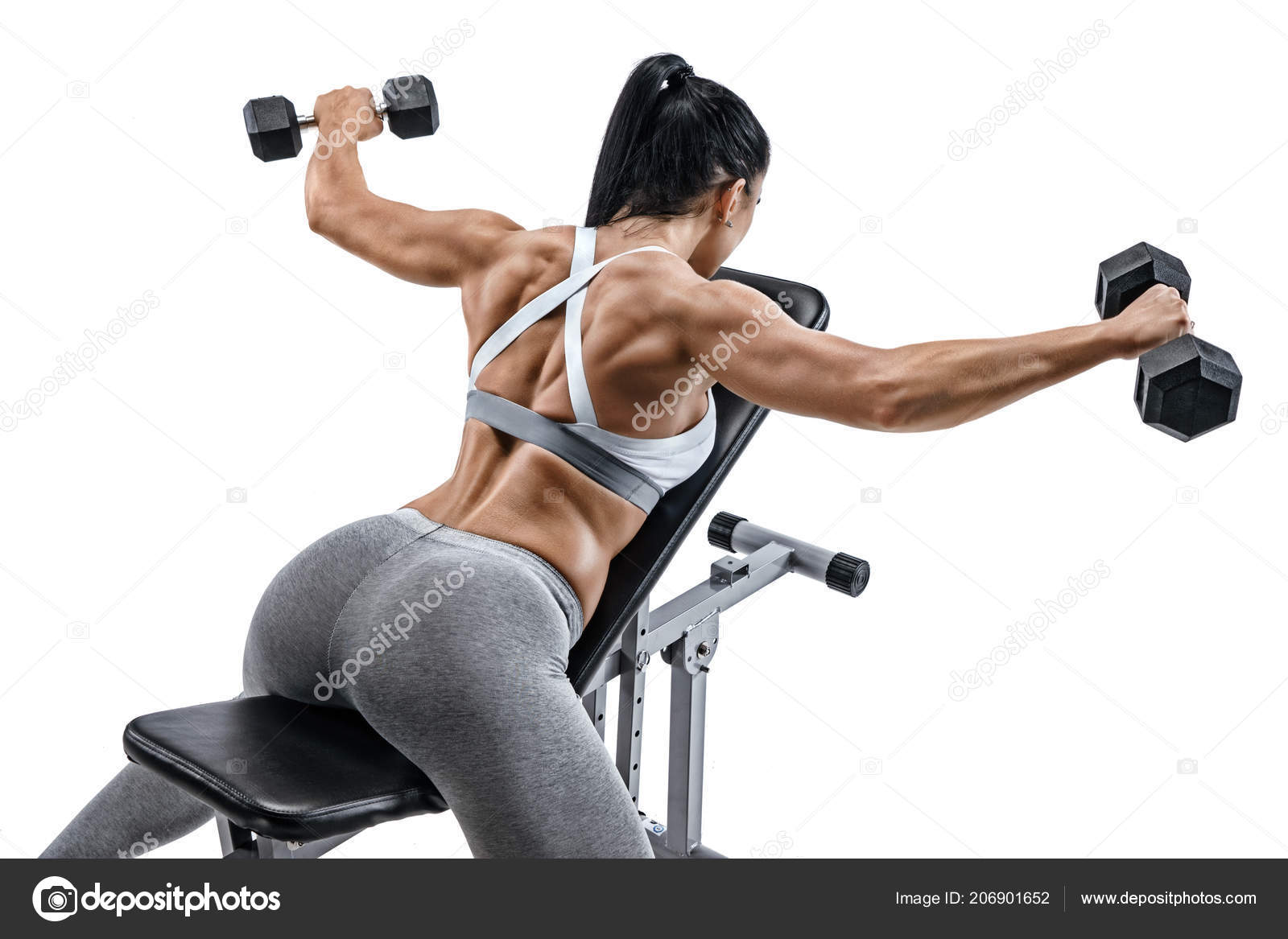 Muscular Woman Doing Exercise Dumbbells Muscles Back Photo